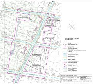 Icon of План регулације грађевинског земљишта са регулацијом уличних коридора границом зона и грађевинским линијама